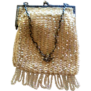 Glass Beaded Purse sterling tooled frame, Cream Hand Made