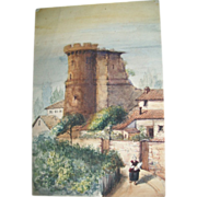 Dutch 19th Century Watercolor of Castle with Woman