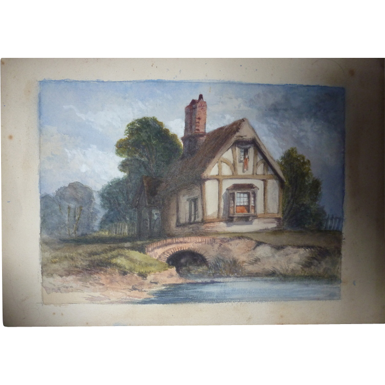 Large Dutch 19th Century Watercolor Cottage By Bridge From