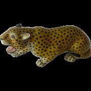 19th Century Indian Polychrome Lacquered Papier Mache Leopard