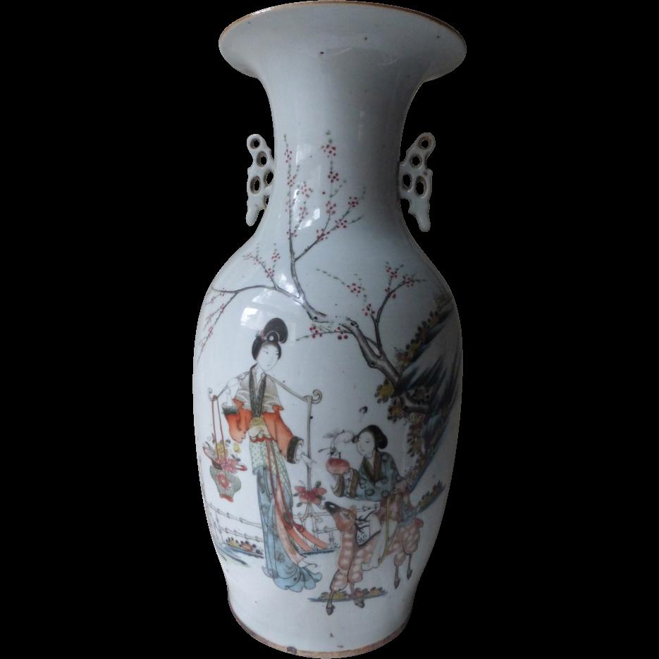 Antique Qianjiang Chinese Porcelain Vase Ma Gu Riding Deer