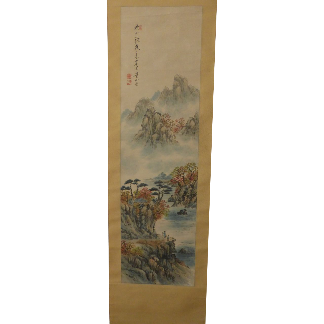 Antique Chinese Scrolls: Lovely Vintage Chinese Painting Scroll Signed Seals