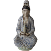 Vintage Chinese Ceramic Figurine of Guanyin Polychrome
