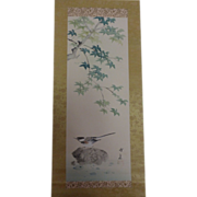 Pretty Vintage Japanese Hanging Scroll Bird Tree Rock Water Signed Seal - Red Tag Sale Item
