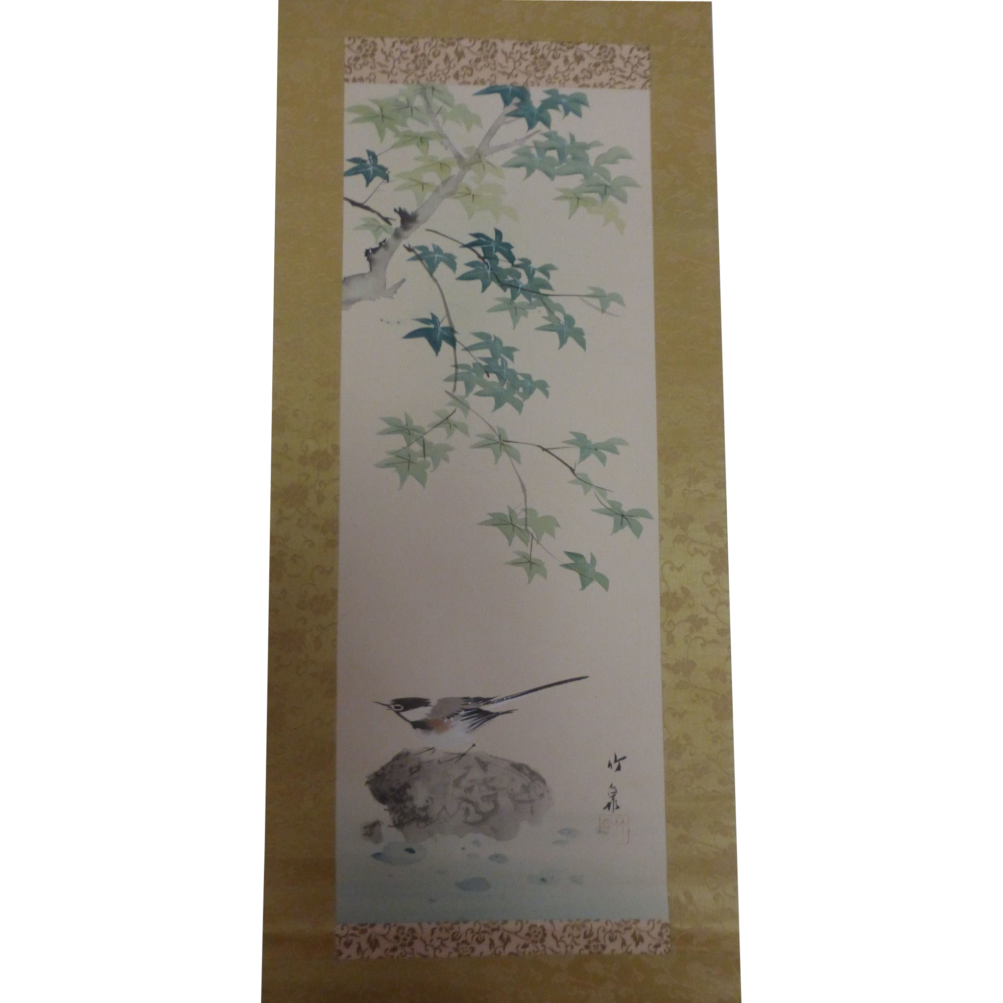 Antique Japanese Scroll: Pretty Vintage Japanese Hanging Scroll Bird Tree Rock