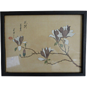 Vintage Chinese Watercolor Magnolia Branch Signed Sealed