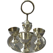 19th Century English Egg Cup Holder Modernist Silver Plated Hukin & Heath H&H Shape #1