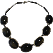 Taxco Mexico Los Castillo Vintage Necklace Sterling Silver Obsidian Rosewood Unusual