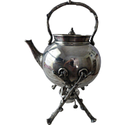 Antique English Chinoiserie Silverplate Tipping Kettle Elkington