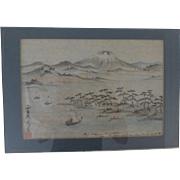 19C Chinese Painting of Mt Fuji Japan Signed Inscribed Sealed Important American Provenance