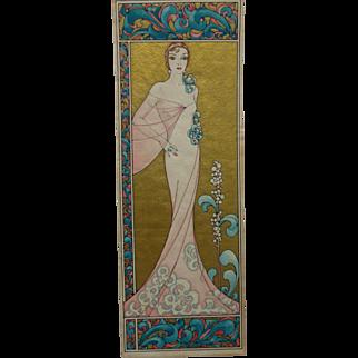 Art Deco Painting Blonde Woman Fashion Plate Gilt & Color
