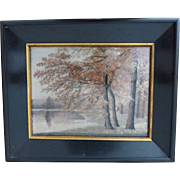 Antique Chinese Silk Embroidered Painting Autumn Trees & Lake Original Frame