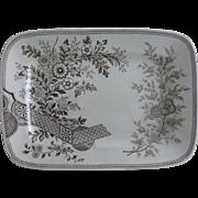 Christopher Dresser Antique Aesthetic Transferware Platter Old Hall Hampden Pattern Brown