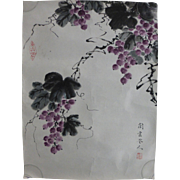 Vintage Chinese Watercolor Painting Berries Fruit Signed Red Seal