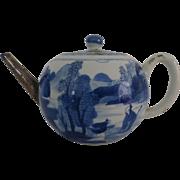 Antique Chinese Teapot Blue & White Porcelain w Metal Spout Landscape Qing Kangxi 康熙朝青花瓷