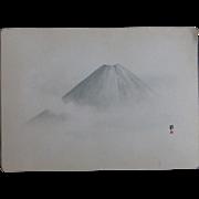 Antique Japanese Nanga Nihonga Painting Mount Fuji Important American Provenance Scidmore Dated Yokohama