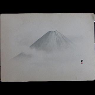 Antique Japanese Nanga Painting Mount Fuji Important American Provenance Scidmore Dated Yokohama