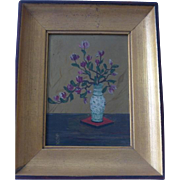 1930's Oil Painting Magnolias American Chinese Japanese Woodstock Workshop NY Original Frame