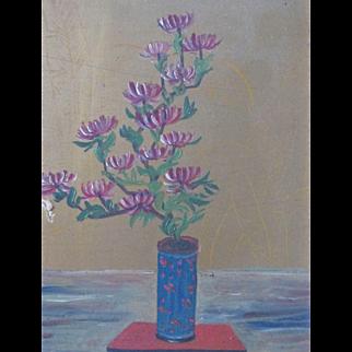 1930's Oil Panting Flowers American Japanese Chinese Woodstock Workshop NY Signed Original Frame