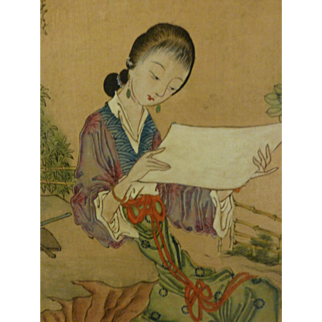 Antique Chinese Painting Lady in Garden Scholar Meiren Geisha Signed Sealed Calligraphy Ink Color on Silk