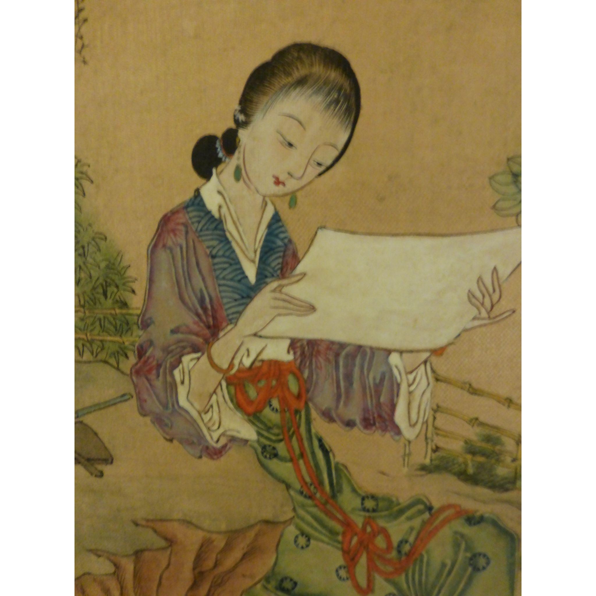 Antique Chinese Painting Lady In Garden Scholar Meiren
