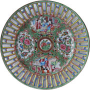 Antique Chinese Export Famille Rose Medallion Reticulated Plate 19th C Porcelain Excellent Condition