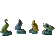 Old Chinese Export Duck / Goose Polychrome Bird Figurines Set of 4 Signed