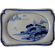 Antique Chinese Porcelain Blue & White Footed Tea Ceremony Dish Ko Sometsuke Marked