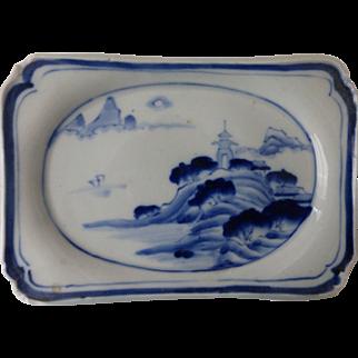 Antique Chinese Porcelain Blue & White Footed Tea Ceremony Dish Ko Sometsuke Marked
