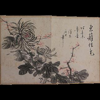 Vintage Chinese Painting Watercolor Album Leaf Chrysanthemum Flowers Ink Signed