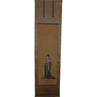 Antique Japanese Scroll Female Beauty Ameratsu Watercolor Signed Sealed