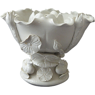 Vintage Blanc de Chine Creamware Lotus Leaf Comport Bowl with Ducks & Flower Frog