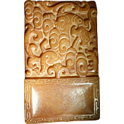 Antique Chinese Hardstone Carved Small Inkstone Scholar Item