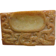 Antique Chinese Carved Hardstone Inkstone Inkwell Scholar Item