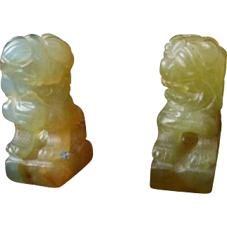 Vintage Carved Chinese Green Stone Pair Of Buddhist Lions