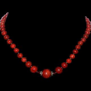 Vintage Sponge Coral Sterling Silver Necklace 8mm / 16mm Beads Estate Item