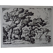 Sven Birger Sandzen Drypoint Print Three Cottonwood Trees Signed Estate Item