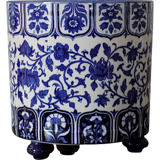 Antique Minton Aesthetic Blue & White Jardiniere Indian Pink & Scroll Pattern Scarce