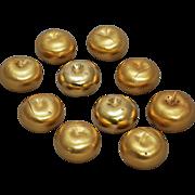 Ten Gilt Silver Apple  Form Gem Set Salt & Pepper Shakers / Place Card Holders