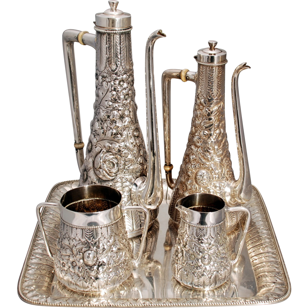 Gorham Sterling Silver Turkish Style Tea & Coffee Set from ...