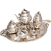 Sterling Silver Tea Set, Style of Georg Jensen Blossom