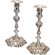 Pair of English Sterling Silver Cast Candlesticks