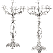 Pair of Monumental German Art Nouveau Silver Candelabra