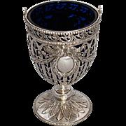 Antique German  Silver Empire design Basket with Cobalt Liner