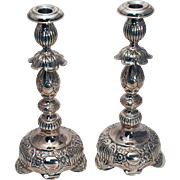 Pair of Russian Sterling Silver Candlesticks