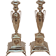 Pair of Austrian Sterling Silver Candlesticks
