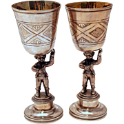 Pair of Unusual Silver Cast Figural Viennese Marriage Cups 1830