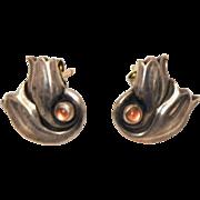 Georg Jensen Sterling Silver Tulip Earrings with Rose Quartz