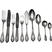 Fine French Sterling Silver Flatware Set- 131 pieces