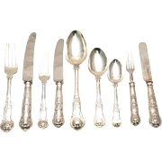 Kings Pattern English Sterling Silver Flatware Set